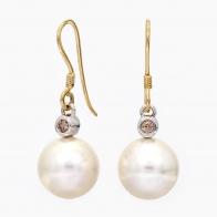 Tamara White South Sea Pearl And Champagne Diamond Hook Earrings
