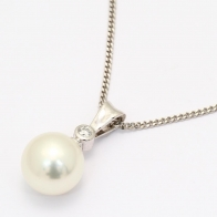 Belize White South Sea Pearl and White Diamond Bezel Drop Pendant