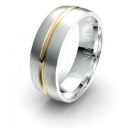 Harlow Brushed Finish Grooved Debonair Infinity Mens Ring