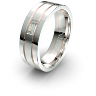 Roper Baguette Diamond Etched Channel Lustre Infinity Mens Ring