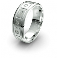 Falleron Etched Segmented Lustre Infinity Mens Diamond Ring