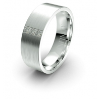Creed Three Stone Matte Finish Lustre Infinity Mens Diamond Ring