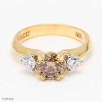 Yellow Brown Diamond Kaleidoscope Three Stone Ring