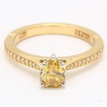 Radiance Pear Cut Yellow Diamond Ring