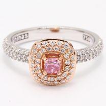 Ambrosia Argyle Pink and White Diamond Halo Ring