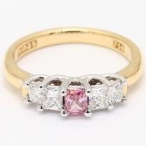 Orient Argyle Pink and White Diamond Five Stone Ring
