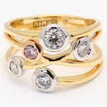 Bubbles White and Argyle Pink Diamond Dress Ring