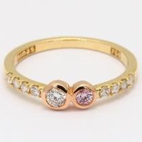 Vanguard Argyle pink and white diamond bezel ring