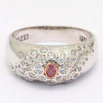 Ursula pink and white diamond dress ring