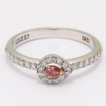 Mirabelle pear cut pink diamond halo ring