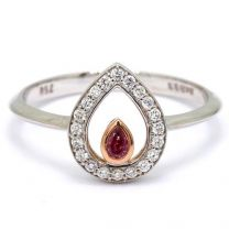 Droplet pear cut pink diamond halo ring
