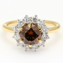 Grande champagne and white diamond halo engagement ring