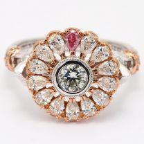 Venus pink and white diamond flower ring