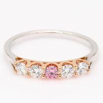 Zalira Argyle pink and white diamond 5 stone ring