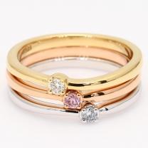 Egret Argyle pink blue and white diamond three ring stack