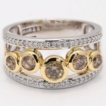 Pathway champagne and white diamond dress ring
