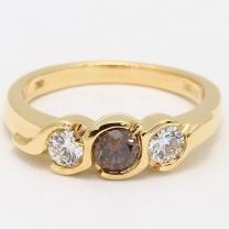 Argyle Champagne Diamond Selena Three Stone Ring