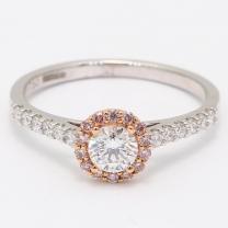 Blossom Argyle Pink and White Diamond Halo Ring