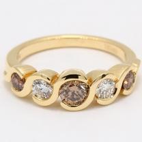Delta White and Champagne Diamond Dress Ring