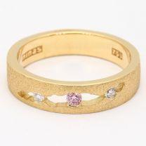 Katherine Textured Argyle Pink and White Diamond Ring