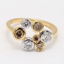 Confection Champagne and White Diamond Dress Ring