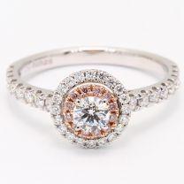 Paris Argyle Pink and White Diamond Halo Engagement Ring
