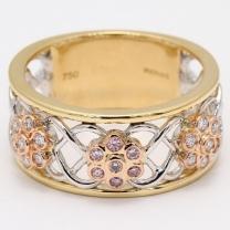 Eden Argyle Pink and White Diamond Flower Ring