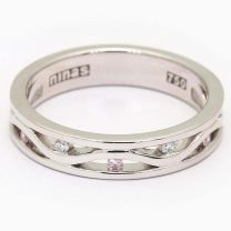 Two Journey Together Argyle Pink and White Diamond Dress Ring