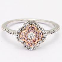 Zamia Argyle Pink and white diamond floral cluster halo ring