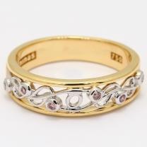 Artistry white and Argyle pink diamond filigree dress ring