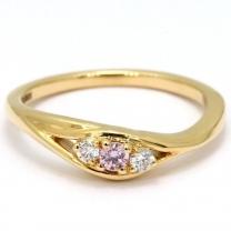 Iris Argyle pink and white diamond 3 stone ring
