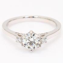 Monet white diamond three stone diamond bridge engagement ring