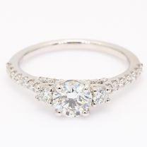 Tower white diamond three stone diamond bridge engagement ring