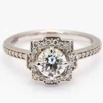 Montague white diamond vintage art deco halo engagement ring