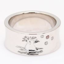 Cosmic boab Arygle pink and white diamond ring
