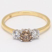 Willow Argyle Champagne and White Diamond Three Stone Ring