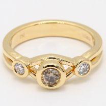 Lisbeth Champagne Diamond Three Stone Dress Ring