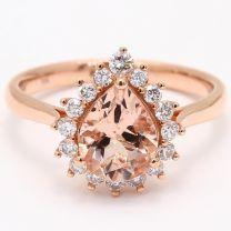 Persia Pear Cut Morganite and White Diamond Halo Ring