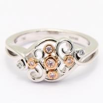 Glitter Argyle pink and white diamond dress ring
