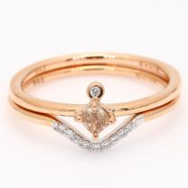 Deity cushion cut pinkish orange and white diamond two ring stack