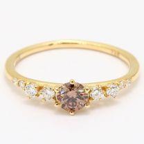 Aspen champagne and white diamond ring