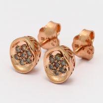 Terra Champagne Diamond Cluster Stud Earrings
