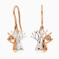 Twin Boab Champagne Diamond Hook Earrings