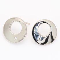 Record white diamond round disk stud earrings