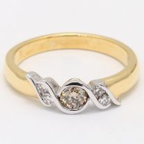 Magnolia Champagne Diamond Scroll Dress Ring
