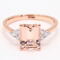 November Emerald Cut Morganite and White Diamond Dress Ring
