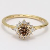 Exodus champagne and white diamond halo ring