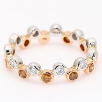 Tigris orange and white diamond eternity band
