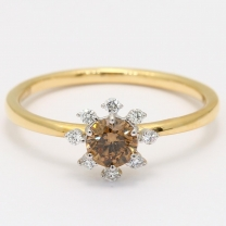 Araw champagne and white diamond halo ring