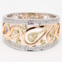Paisley Yellow and White Diamond Filigree Dress Ring